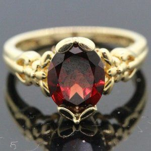14k Yellow Gold & Garnet Unique Ring